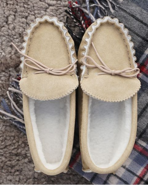 Sheepskin Lined Moccasin Slippers - Hard Sole Footwear