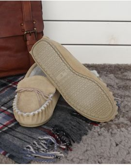 Sheepskin Lined Moccasin Slippers - Hard Sole