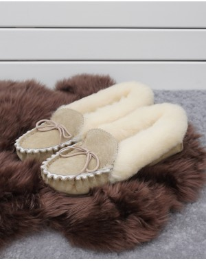 Ladies Sheepskin Lined Moccasin Slippers Hard Sole Footwear
