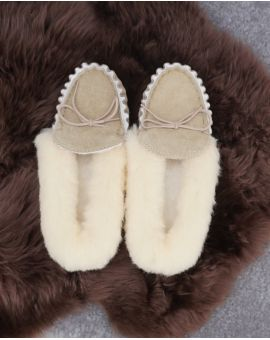Ladies Sheepskin Lined Moccasin Slippers - Hard Sole