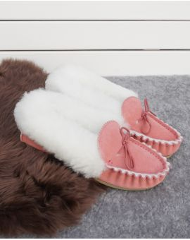 Ladies Pink Sheepskin Lined Moccasin Slippers - Hard Sole