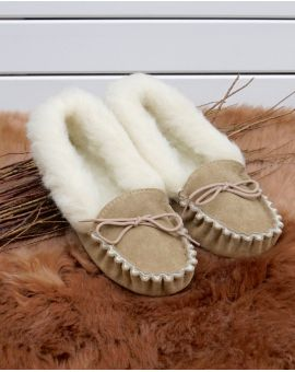 Ladies Suede Moccasin Slippers with Lambswool Lining - Soft Sole