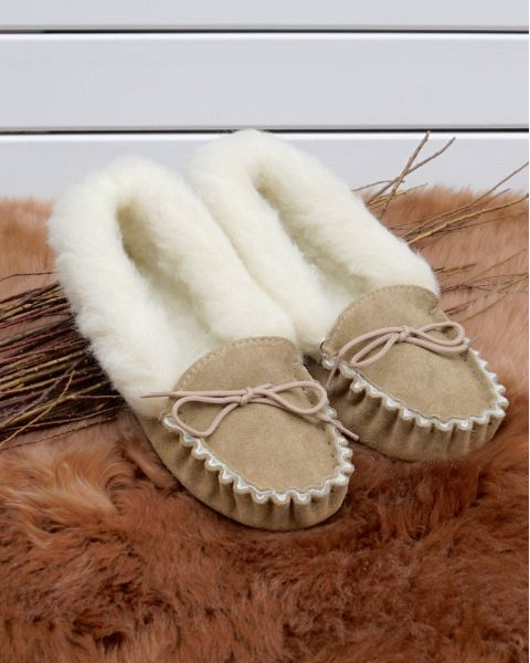 Ladies Suede Moccasin Slippers with Lambswool Lining - Soft Sole Moccassin Slippers