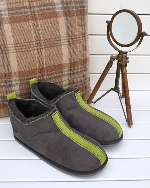Ola Sheepskin Slippers - Green Footwear