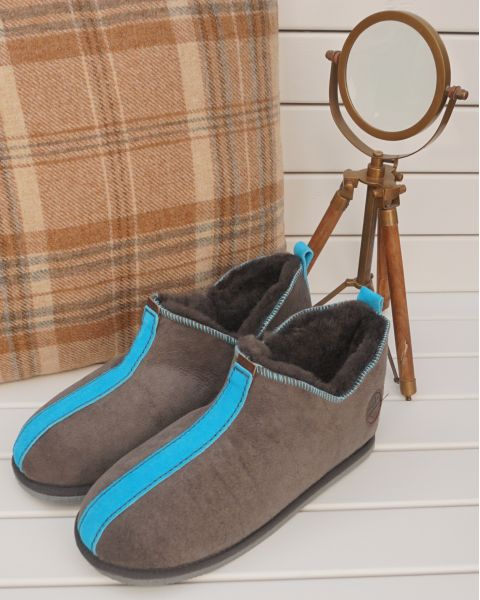 Ola Sheepskin Slippers - Blue Footwear