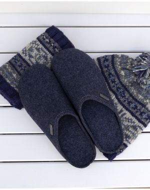 Navy Wool Mule Slipper - Jon Footwear