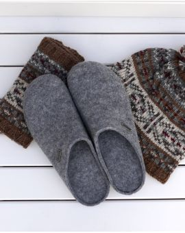 Grey Wool Mule Slipper - Jon Footwear
