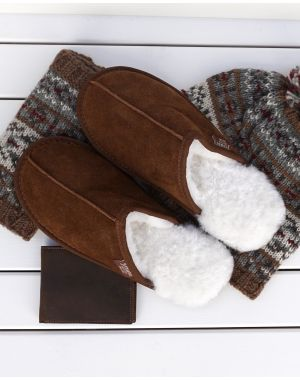 Chestnut Sheepskin Mule Slippers - James Footwear