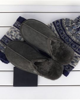 Grey Sheepskin Mule Slippers - James Footwear