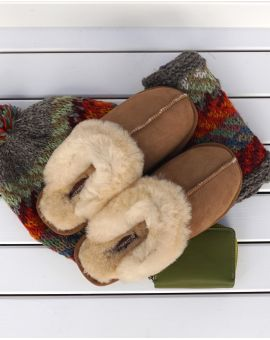 Chestnut Sheepskin Mule Slippers - Jessica
