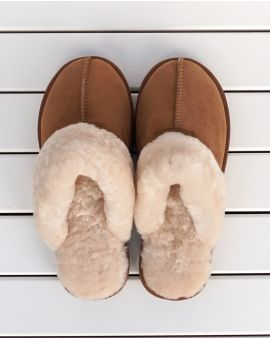 Kim Sheepskin Mule Slippers - Spice