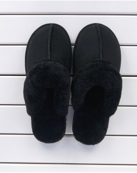 Kim Sheepskin Mule Slippers - Black