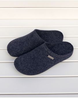 Navy Wool Mule Slipper - Cilla