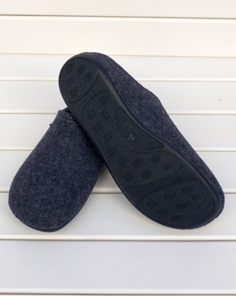 Navy Wool Mule Slipper - Cilla Mules