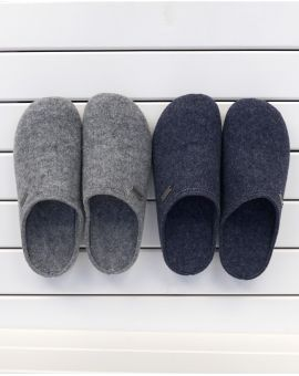 Grey Wool Mule Slipper - Cilla Mules