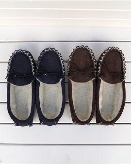 Brown Suede Moccasin Slippers with Lambswool Lining - Hard Sole