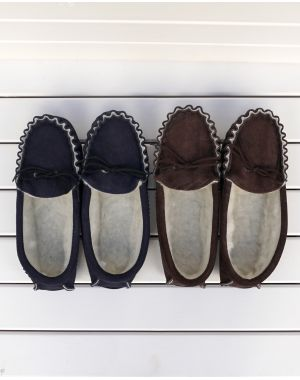Brown Suede Moccasin Slippers with Lambswool Lining - Hard Sole Footwear