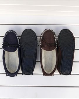 Blue Suede Moccasin Slippers with Lambswool Lining - Hard Sole Footwear