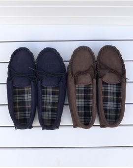 Blue Suede Moccasin Slippers with Cotton Lining - Hard Sole Footwear