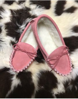 Pink Suede Moccasin Slippers with Lambswool Lining - Soft Sole