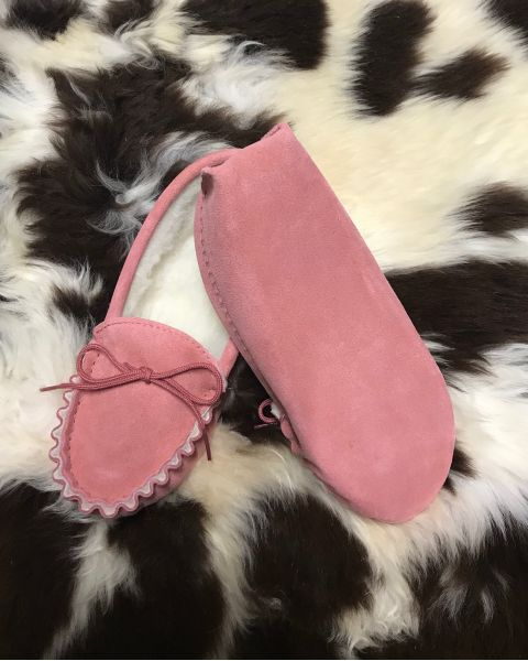 Pink Suede Moccasin Slippers with Lambswool Lining - Soft Sole Moccassin Slippers