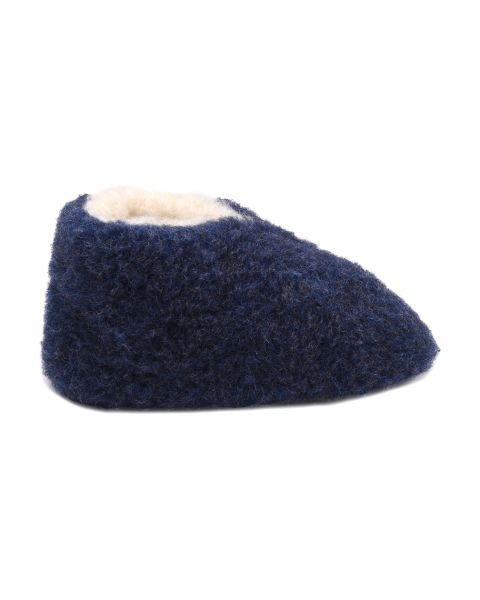 Navy Merino Wool Bootie Slippers - Skiper Footwear