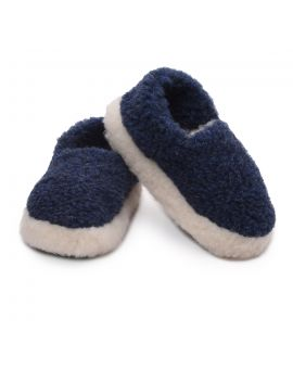 Navy Merino Wool Slippers - Siberian Footwear