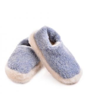 Blue Merino Wool Slippers - Siberian Footwear