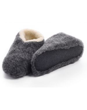 Grey Merino Wool Bootie Slipper - Skiper Footwear