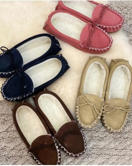 Suede Moccasin Slippers with Lambswool Lining Hard Sole Mens
