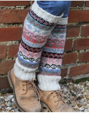 Wool Leg Warmers - Oatmeal Slipper Socks