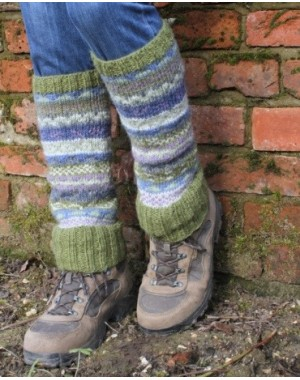 Wool Leg Warmers - Olive Slipper Socks