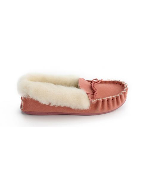Ladies Pink Suede Moccasin Slippers with Lambswool Lining - Hard Sole Moccassin Slippers
