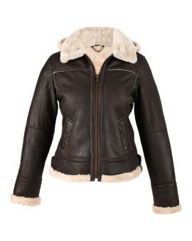 Ladies Sheepskin Jacket with Detachable Hood