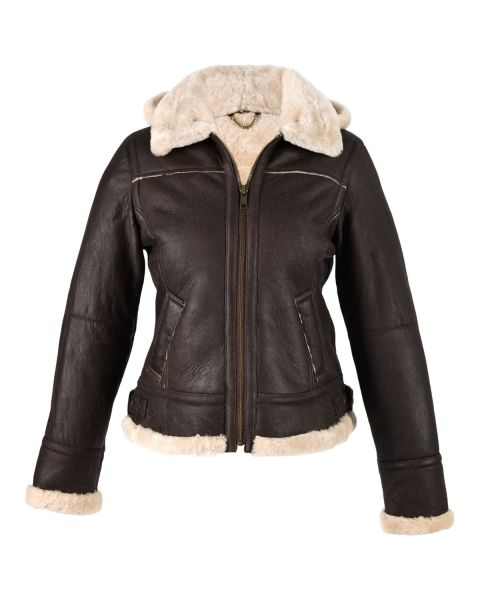 Ladies Sheepskin Jacket with Detachable Hood Coats